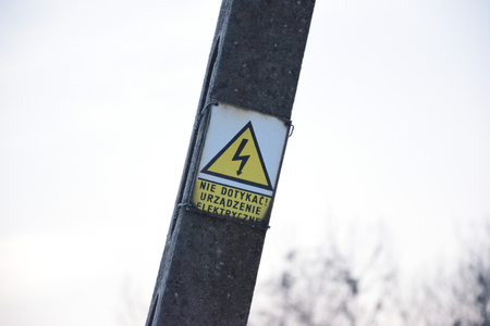 Danger High Voltage Sign Stock Photo