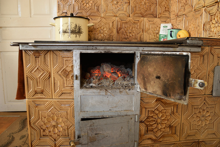 Hot Coals in the old old stove Stock Photo - 72285048