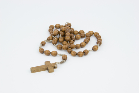 Catholic Wooden Rosary Stock Photo