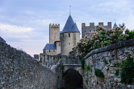Monumental towers and walls in the old town of Carcassonne, France Stok Fotoğraf