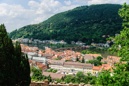 Scenic view of the old town of Heidelberg and the Old Bridge, Heidelberg, Germany