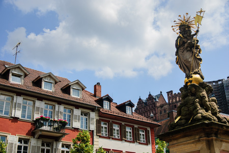 The golden statue of St. Mary in the old town of Heidelberg, Germany