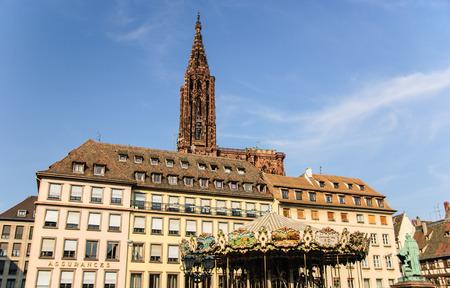 Place Kleber and cathedral, Strasbourg, France Stok Fotoğraf