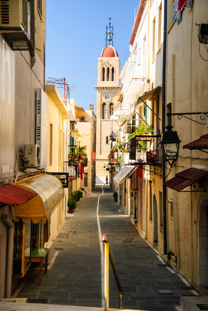 Romantic street in Rethymno, Crete, Greece