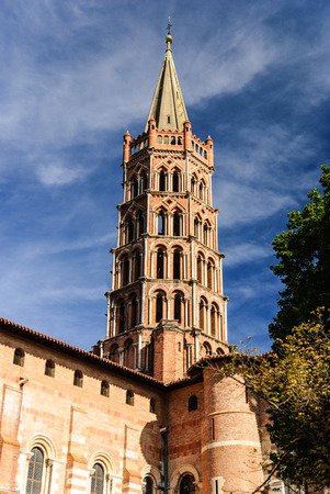 The bell tower of the Basilica of Saint Sernin, Toulouse, France Stok Fotoğraf