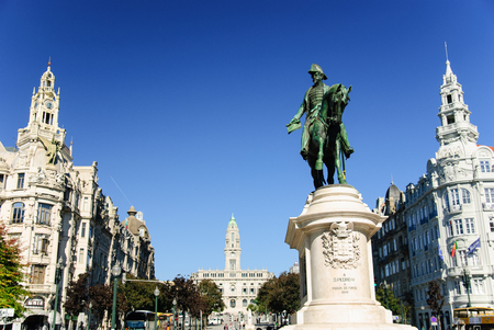 Liberdade square with monument of King Peter IV, Porto, Portugal Stok Fotoğraf