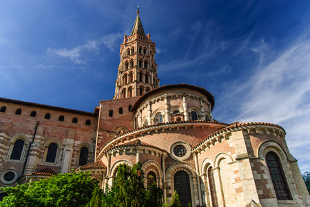 Romanesque Basilica of Saint Sernin with bell tower, Toulouse, France