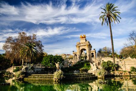 Picturesque fountain in Parc de la Ciutadella in Barcelona
