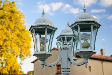 Lamppost in autumn - architectural detail Stok Fotoğraf