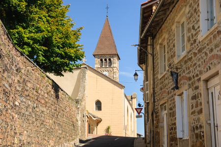 Typical French town in the region of Beaujolais, France