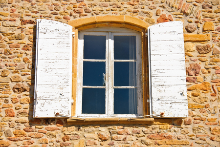 French farm - window, architectural detail Stok Fotoğraf