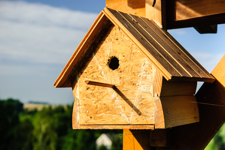 Wooden birdhouse in the countryside, Poland