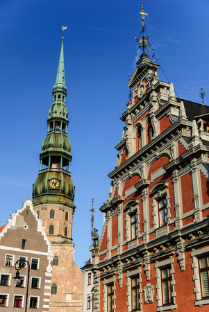 St. St. Peters church and House of the Blackheads, Riga, Latvia Stok Fotoğraf