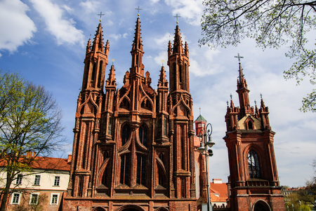Church of St. Annes front with campanile, Vilnius, Lithuania
