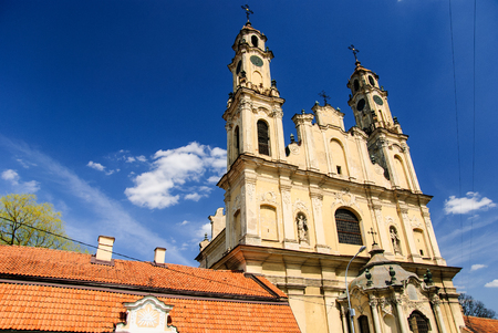 Rococo church of Ascension and monastery during sunny day, Vilnius, Lithuania Stok Fotoğraf
