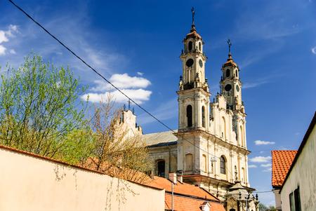 Picturesque rococo church of Ascension, Vilnius, Lithuania