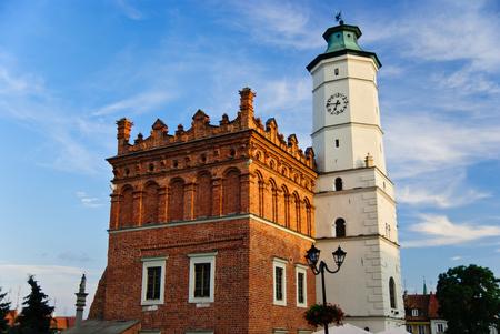 Historic city hall in the sunset in Sandomierz, Poland