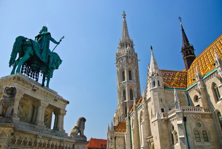 Matthias church and St. Stephen I monument in Budapest, Hungary