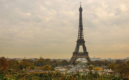 Eiffel Tower and Paris cityscape from Jardins de Trocadero during sunset in autumn, Paris, France Stok Fotoğraf
