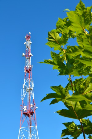 Mobile phone communication radio tv tower, mast with cell microwave antennas and broadcasting network frequency transmitter against the blue sky and trees 1 Stock Photo