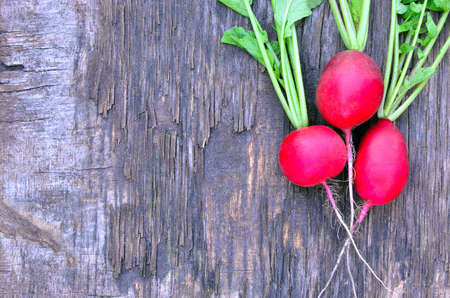Red and pink radish with green leaves lying on an old wooden gray-brown daughter, surface, close-up