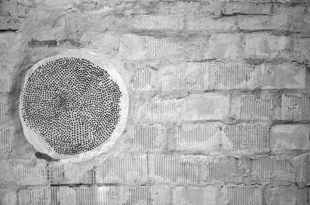 White black gray brick concrete wall, floor with dots, paint and cracks, texture background.