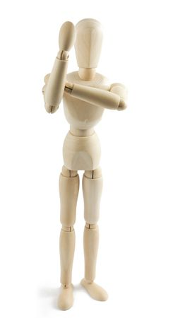 indecent: Wooden mannequin shows indecent gesture on white background
