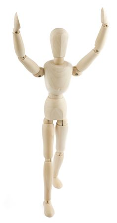 manequin: Wooden manequin raises his arms to the sky on white background