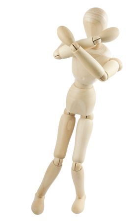 manequin: Scared wooden mannequin isolated on white background Stock Photo
