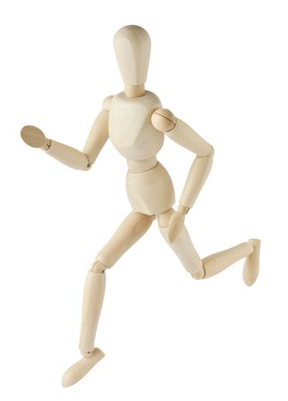 wooden mannequin running isolated on white background photo