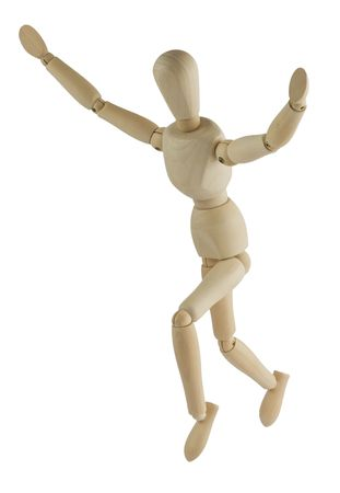 hands lifted: The wooden mannequin jumps with the hands lifted upwards Stock Photo