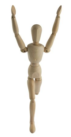 hands lifted: The wooden mannequin running with the hands lifted upwards Stock Photo