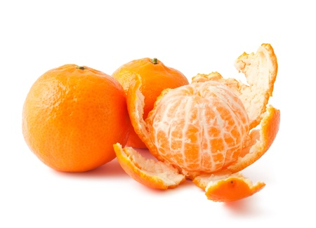 Fresh ripe mandarins isolated on white background photo