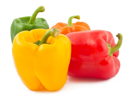 Four ripe peppers isolated on white background Stock Photo