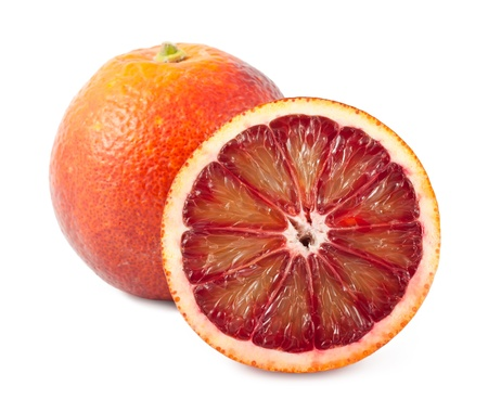 Full and half of blood red oranges isolated on white background