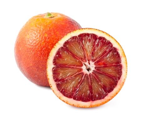 orange slice: Full and half of blood red oranges isolated on white background