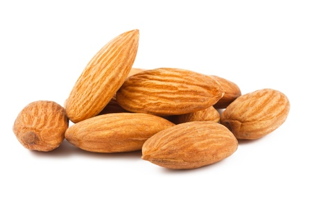 almond: Composition from almond nuts isolated on white background
