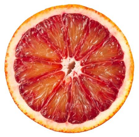 Blood red orange slice isolated on white background