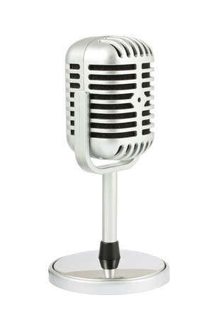Retro microphone with stand isolated on white background photo