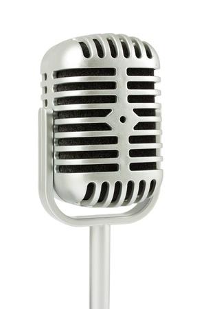 Retro microphone isolated on white background photo
