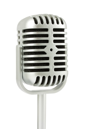 Retro microphone isolated on white background photo