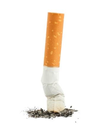 cigarrillos: Tope de solo cigarrillo con ceniza aislada sobre fondo blanco