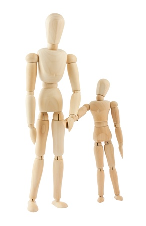 wooden mannequin: Big and small wooden figures isolated on white background Stock Photo