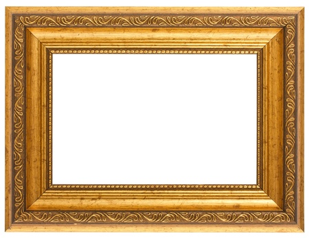 picture frame on wall: Golden antique frame isolated on white background Stock Photo