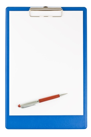card board: blank blue clipboard with a pen isolated on white background
