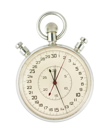 Old stopwatch isolated on white background photo