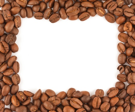 Frame made of coffee beans isolated on white photo