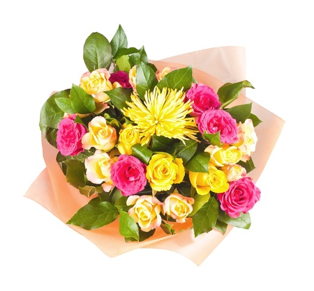 colorful bouquet of flowers isolated on white background photo