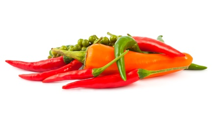 Different kinds of hot pepper isolated on white background Stock Photo - 9567739