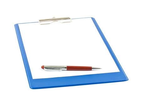 blank blue clipboard with a pen isolated on white background photo